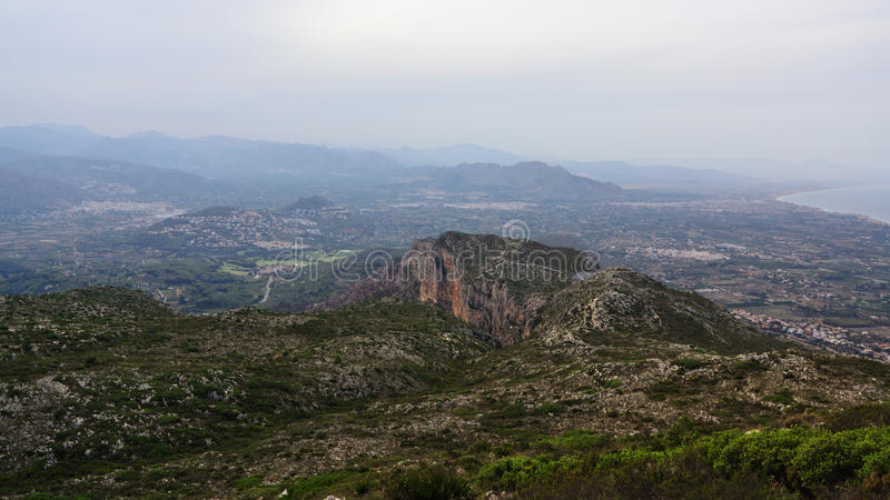 Mount Montgo at haze. View from the top of Mount Montgo, Denia, Spain stock images