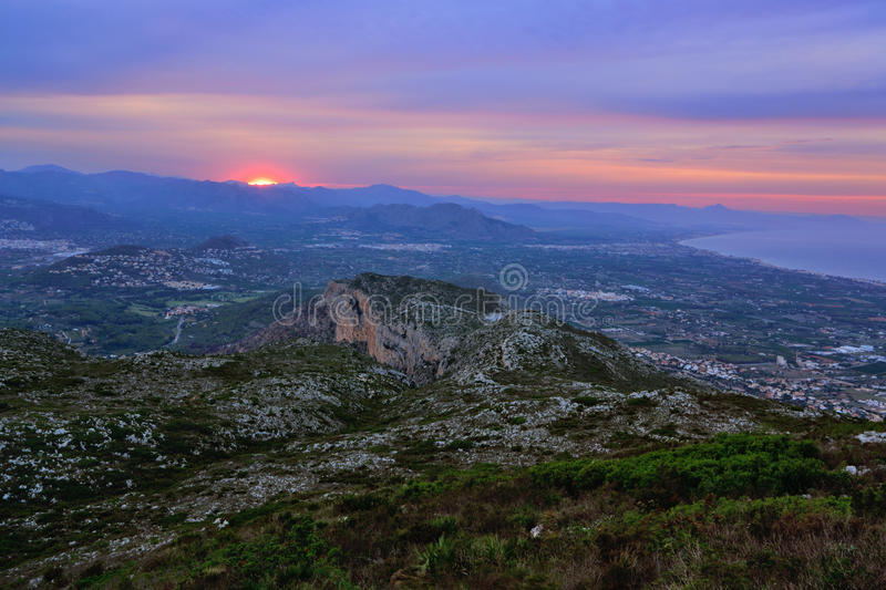 Mount Montgo at sunset. View from the top of Mount Montgo at sunset, Denia, Spain royalty free stock photography