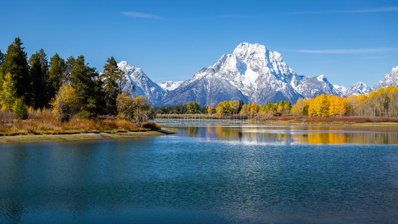 Mount Moran view from Oxbow Bend beside Snake River of Grand Teton, Wyoming royalty free stock photography