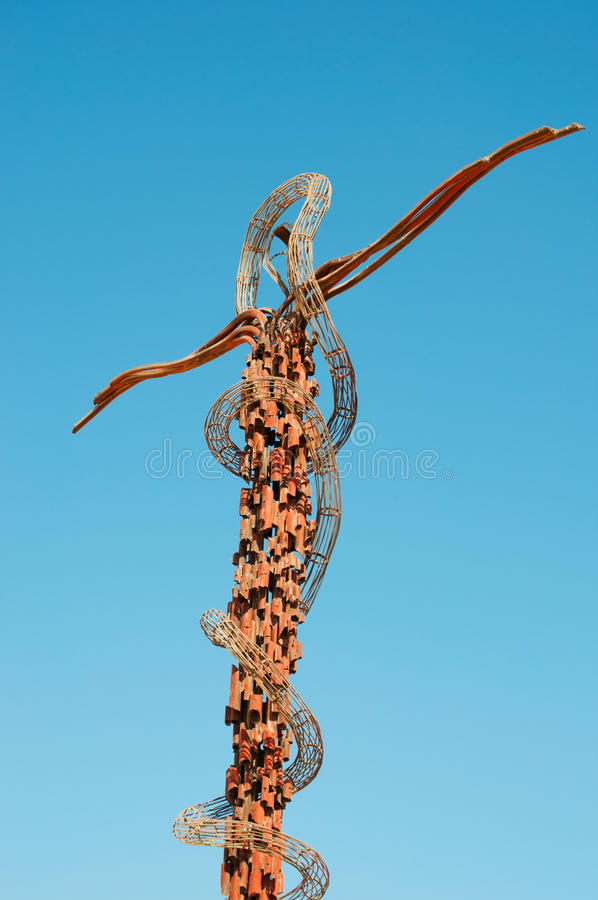 Mount Nebo, Jordan, Middle East, serpent, snake, monument. Jordan 05/10/2013: Brazen Serpent Monument, sculpture by Giovanni Fantoni, on the top of the Mount royalty free stock photography