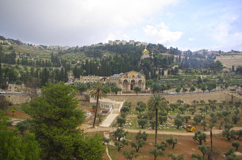 Mount of olives. Church of all nations and Mount of olives, Jerusalem, Israel