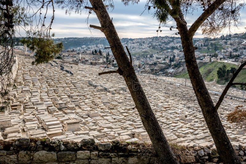 Mount of Olives Jerusalem kyrkogård royaltyfri bild
