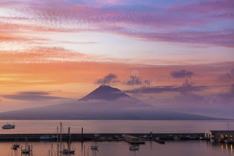 Mount Pico at sunrise. Mount Pico, Island of Pico, Azores, at sunrise
