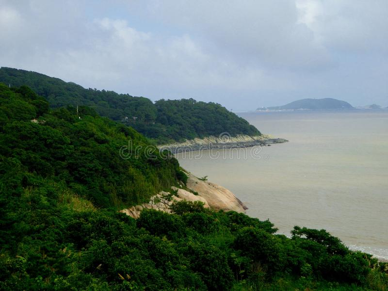 Mount Putuo view. Mount Putuo surrounded by sea in zhoushan city zhejiang province China stock images