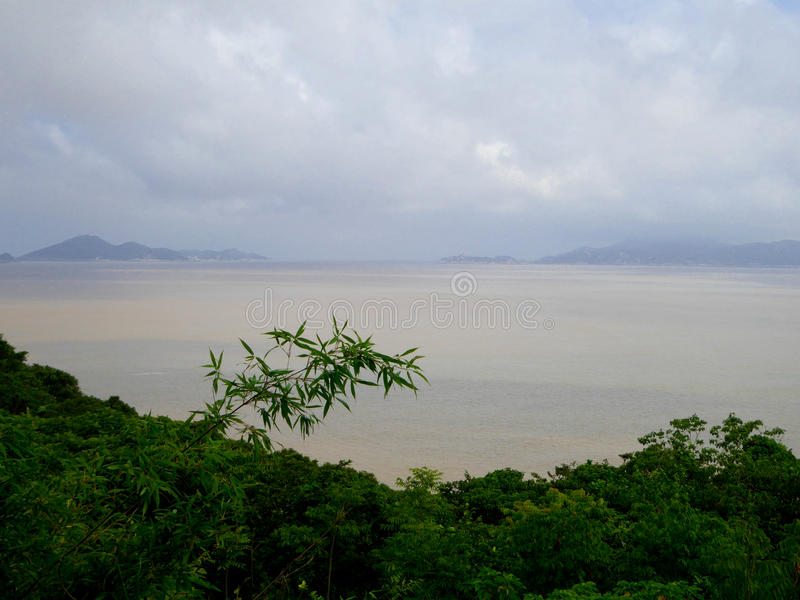 Mount Putuo view. Mount Putuo surrounded by sea in zhoushan city zhejiang province China royalty free stock images