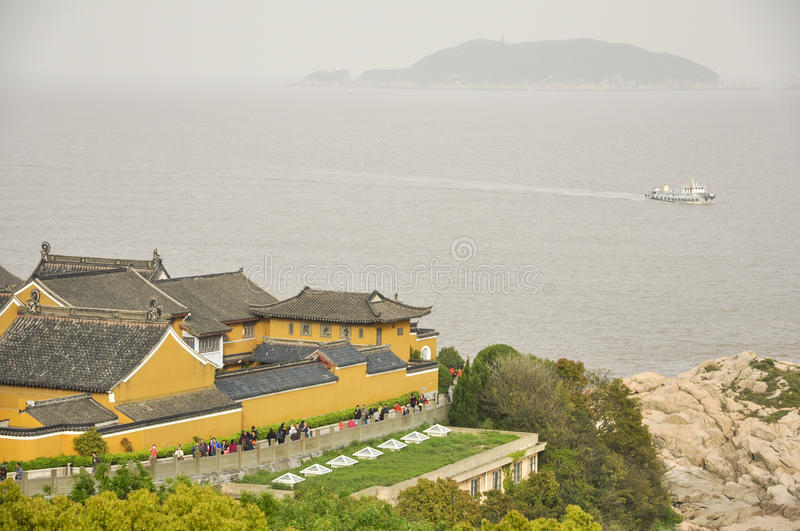 Mount Putuo view. Mount Putuo surrounded by sea in zhoushan city zhejiang province China stock image