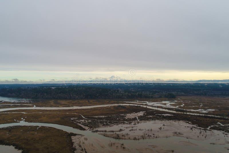 Mount Rainier aan de horizon van boven de Puget Sound in Olympia, Washington royalty-vrije stock afbeelding