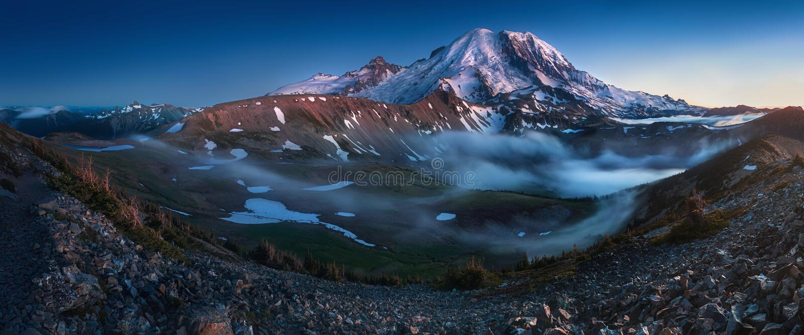 Mount Rainier in the dusk at Mount Rainier National Park, Washington State, USA. Beautiful landscape background concept stock photo