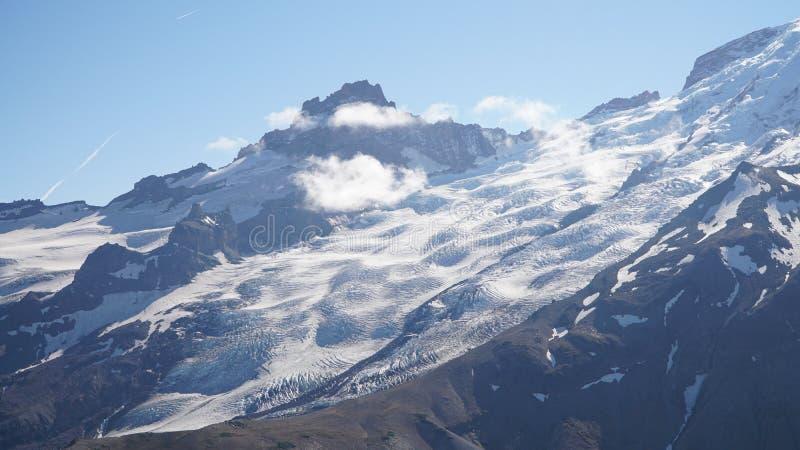 Mount Rainier Glacier views on the Wonderland Trail near Seattle, USA.  stock photos