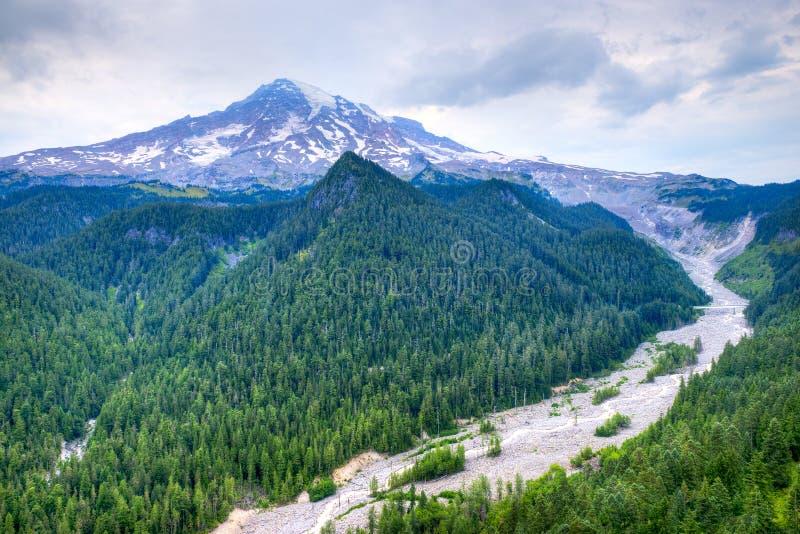 Mount Rainier med den Nisqually floden royaltyfri fotografi