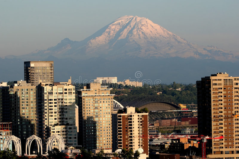 Mount Rainier and Seattle stock photography