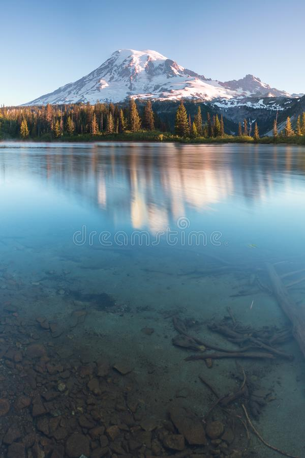 Mount Rainier towers over the surrounding mountains sitting at an elevation of 14,411 ft. It is considered to be one of the world`. S most dangerous volcanoes royalty free stock photos