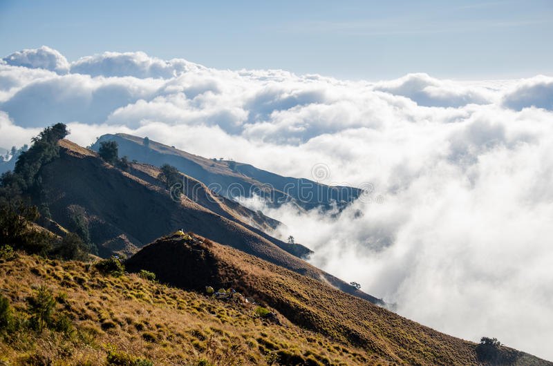 Mount Rinjani Crater Rim. Camping above the clouds on Mount Rinjani`s crater rim royalty free stock image