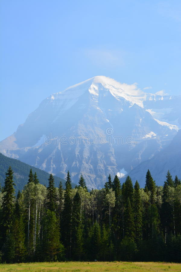 Mount Robson canada. Mount Robson, view from the provincial park Canada stock photo