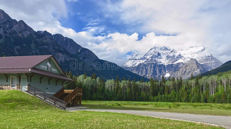 Mount Robson Provincial Park, British Columbia, Canada - June 4, 2018 beautiful summer view of the snow-capped peak of Mount Robso royalty free stock images