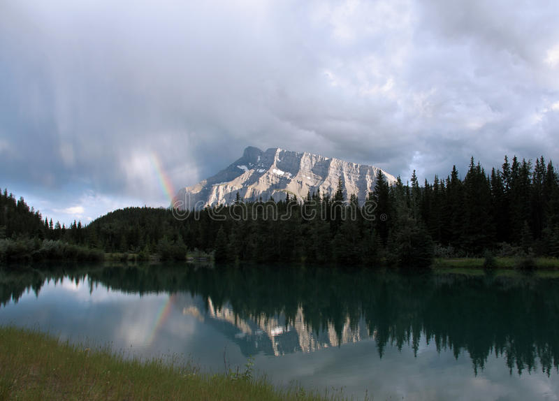 Mount Rundle Rainbow stock image