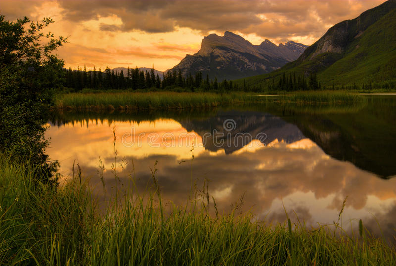 Mount Rundle Sunset royalty free stock photography