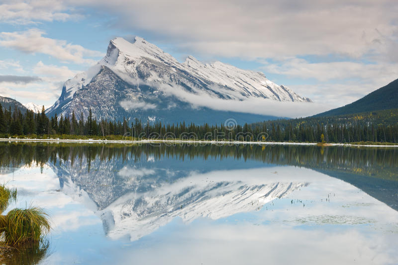 Mount Rundle and Vermillion Lake, Canada stock images