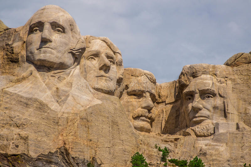 Mount Rushmore on a cloudy day. Close up shot of our great leaders, Mount Rushmore on a cloudy day royalty free stock photography