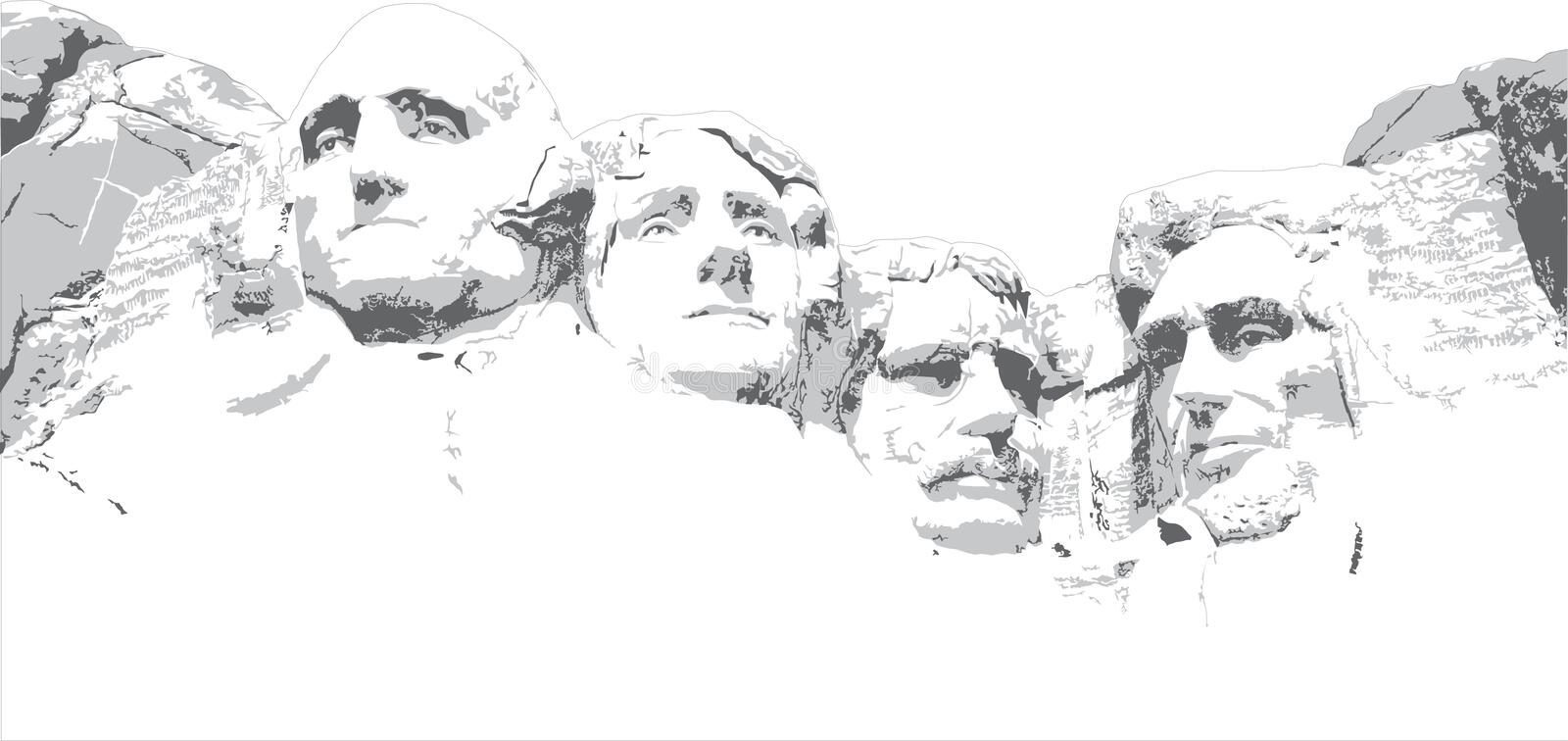 Line Drawing United States : Mount rushmore line drawing stock image