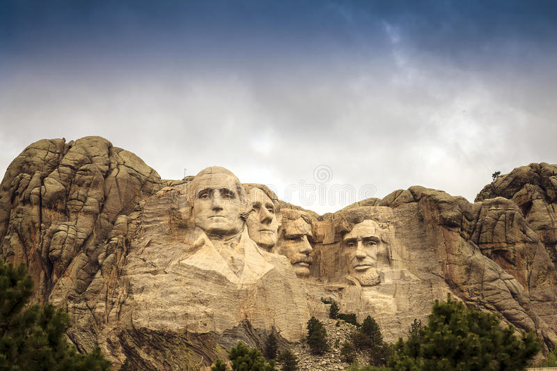 Mount Rushmore National Memorial Park in South Dakota, USA. Sculptures of former U.S. presidents. Mount Rushmore National Memorial Park in South Dakota, USA stock image