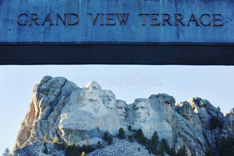 The Mount Rushmore National Memorial in South Dakota. KEYSTONE, SD -The Mount Rushmore National Memorial is a sculpture by Gutzon Borglum representing the giant royalty free stock photo