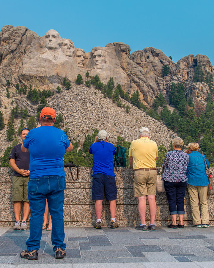 Mount Rushmore National Memorial tourists on the Grand View Terrace stock photo