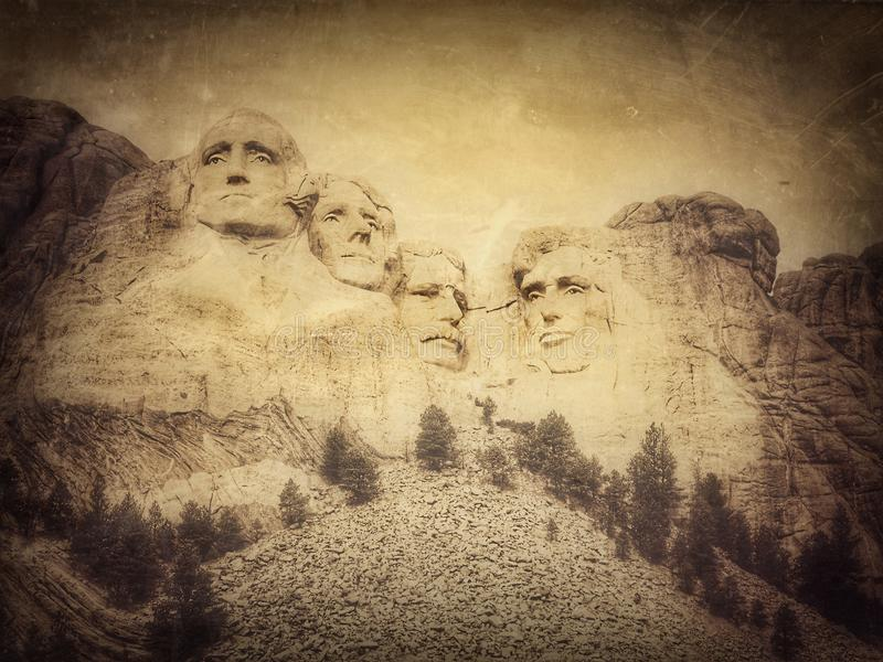 Mount Rushmore National Monument, South Dakota, United States, grunge version of my photo. Mount Rushmore features 60-foot 18 m sculptures of the heads of four stock photo