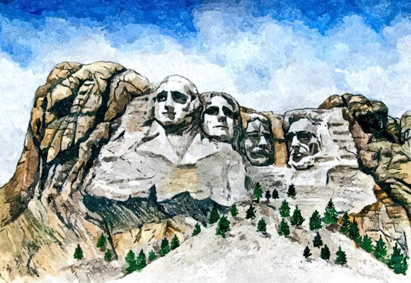 Mount Rushmore - Mount presidents. Painting wet watercolor on paper. Naive art. Drawing watercolor on paper. royalty free illustration
