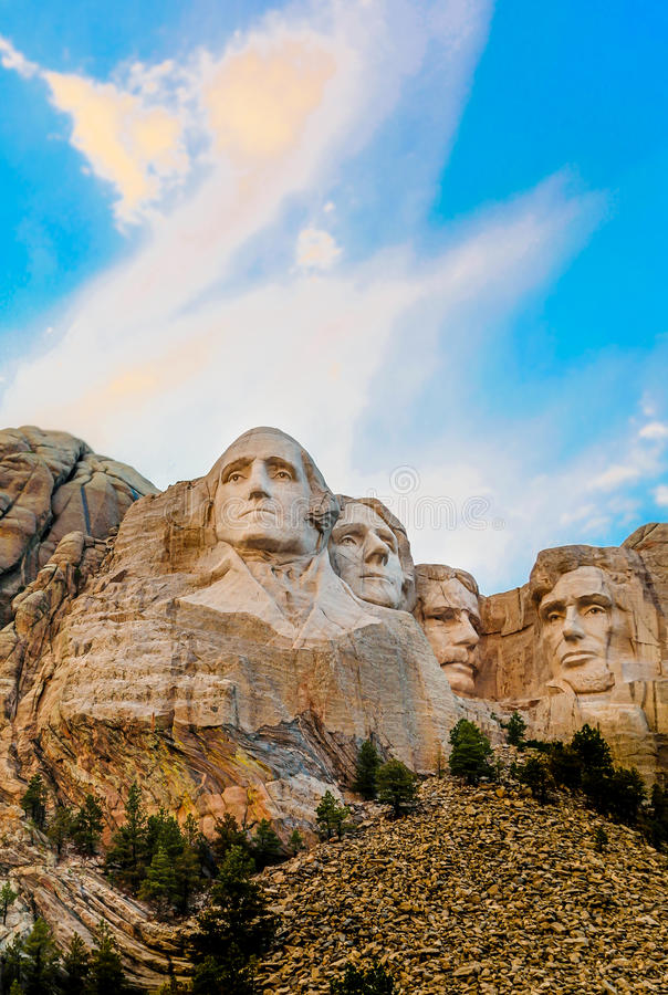 Mount Rushmore sunset colors royalty free stock photo