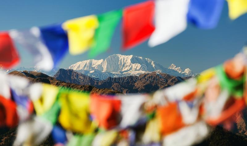 Mount Saipal with prayer flags stock image