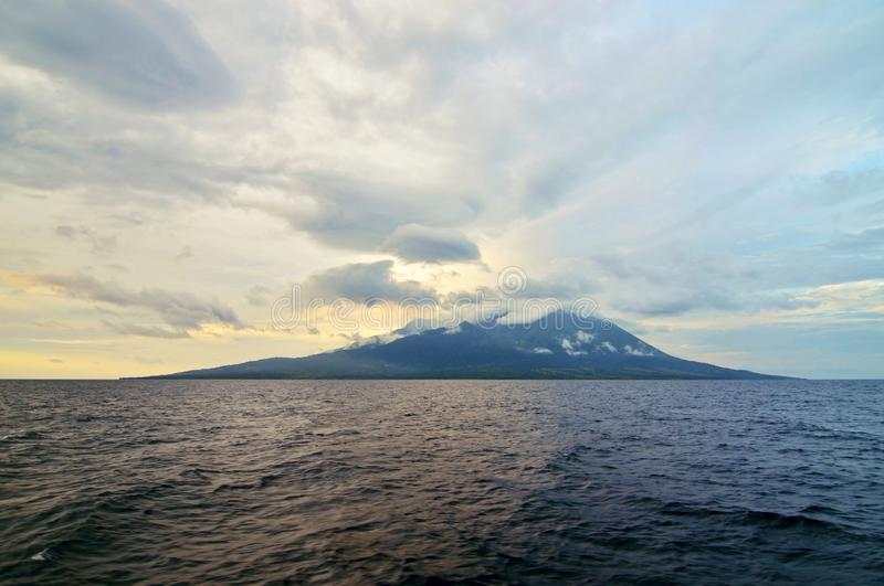 Mount Sangeang, Sumbawa, Indonesia. Mount Sangeang from the sea - vulcano on small island, Sumbawa, Indonesia stock photography