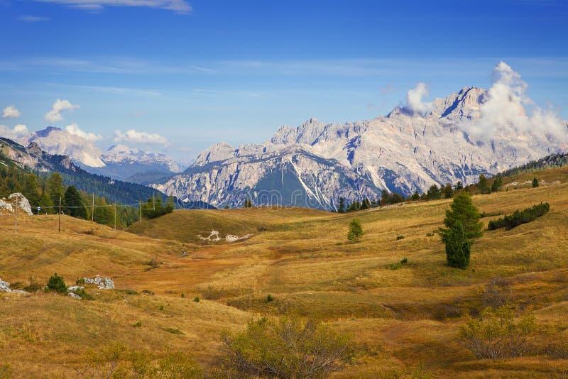 Mount Sass de Stria, Falyarego path, Dolomites. Mount Sass de Stria and stone trench from first world war on foreground, Falzarego path, Dolomites - Italy stock photo
