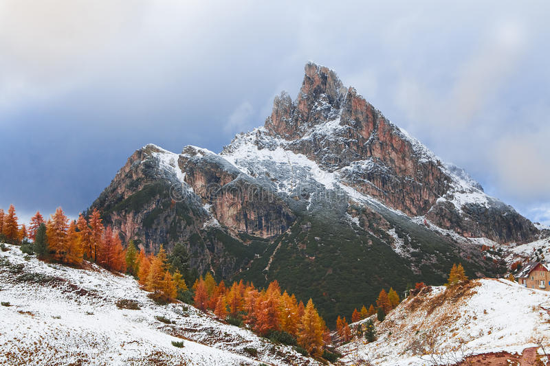 Mount Sass de Stria, Falzarego path, Dolomites. Mount Sass de Stria and stone trench from first world war on foreground, Falzarego path, Dolomites - Italy royalty free stock images