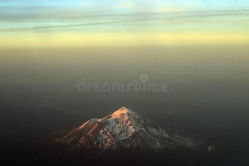 Mount Shasta from above. Mount Shasta, the tallest of the Cascade Mountains in the continental United States stock photo