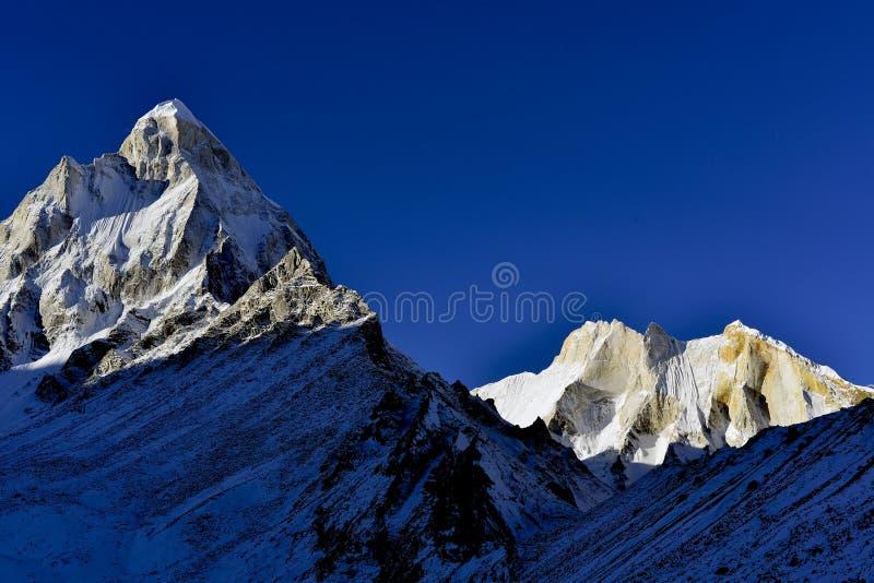 Mount Shivling and Meru at sunrise in Garhwal. East face mount Shivling 6543 meters and Meru 6660 meters at sunrise in Garhwal Himalaya mountain range royalty free stock photos
