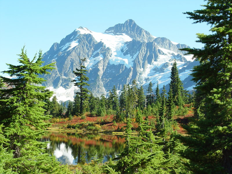 Mount Shuksan. As viewed from Mount Baker Highway stock images
