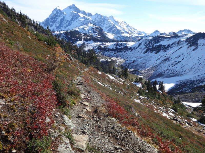 Mount Shuksan late fall scene stock photography