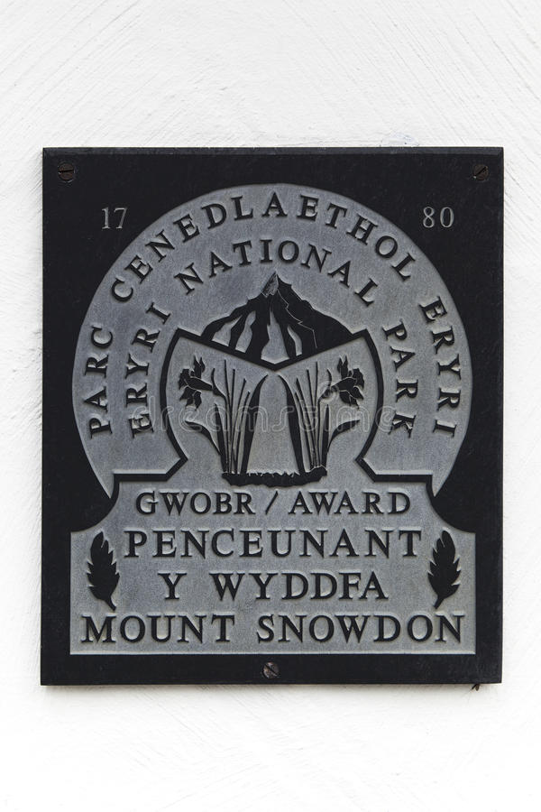 Mount Snowdon sign. Tourist information sign on the Llanberis Path, Snowdonia, North Wales stock photography