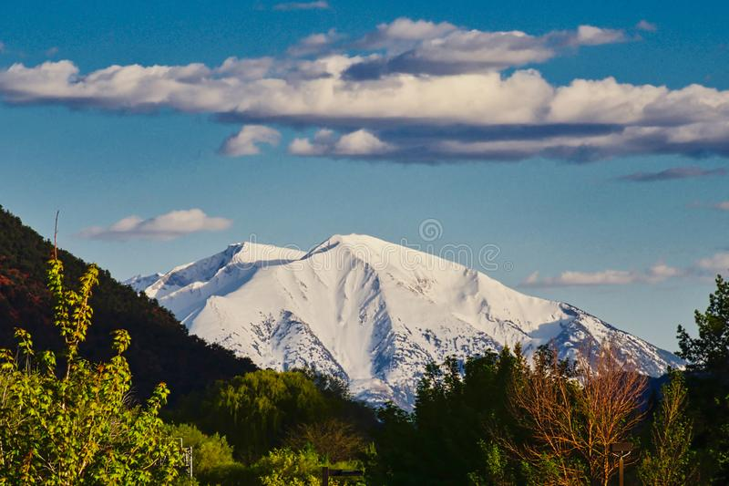 Mount Sopris of Colorado. View from Glenwood Springs on a Springtime afternoon.  Glenwood Springs, Colorado is a mountain resort town with beautiful views and royalty free stock photography