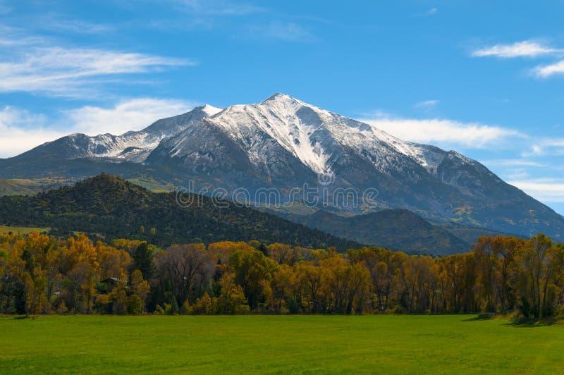 Mount Sopris Elk Mountains Colorado - Fall colors. Beautiful Fall Colors Mount Sopris Colorado Elk Mountains stock photo