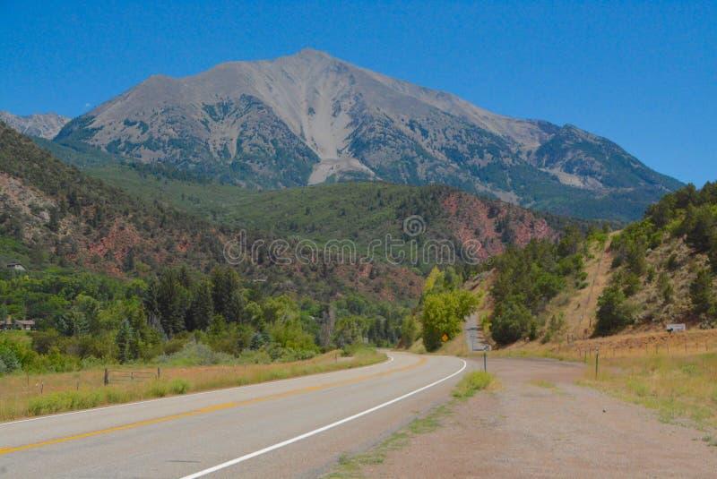 Mount Sopris near Carbondale, Colorado. View of Mount Sopris along Highway 133 between Carbondale and Redstone, Colorado royalty free stock photography