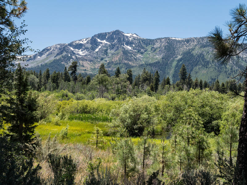 Mount Tallac in the Sierra Nevada Range stock images