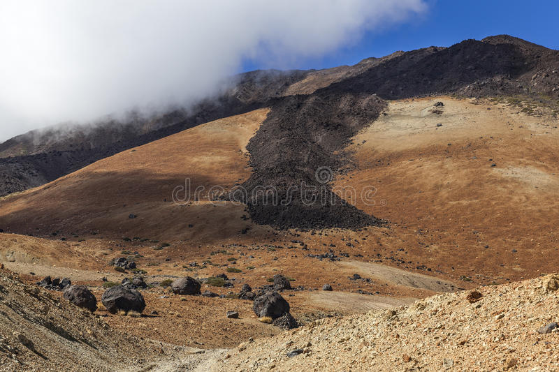 Mount Teide slope. Slope of Mount Teide volcano in Tenerife (Canary Islands) with old lava runs royalty free stock photos
