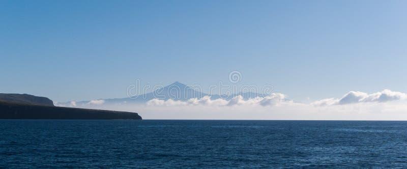 Mount Teide, Tenerife. Mount Teide volcano as seen from the atalantic ocean off the coast of La Gomera stock photo