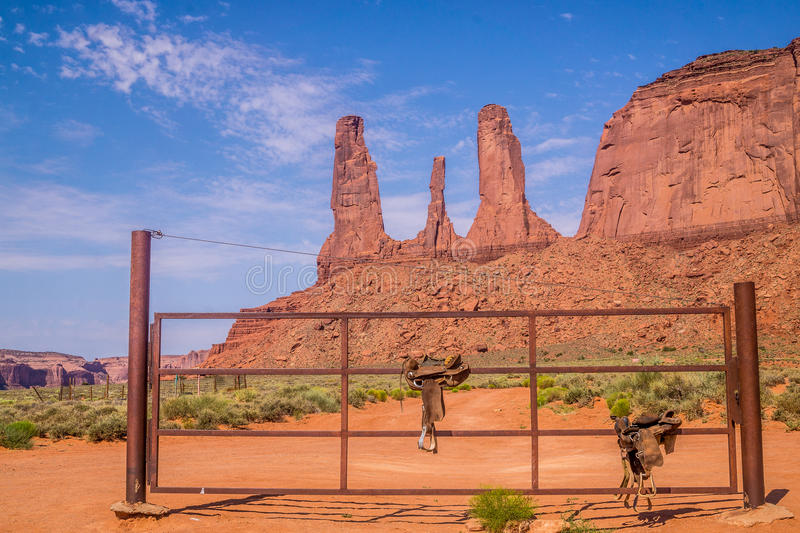 Mount Three Sisters, old Indian saddles and picturesque Monument Valley royalty free stock image
