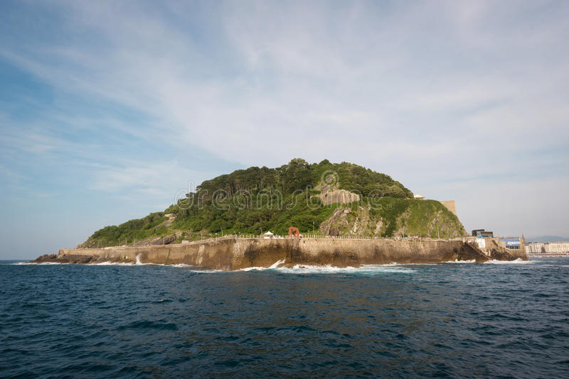 Mount Urgull in San Sebastian city bay, Basque country, Spain. royalty free stock photography