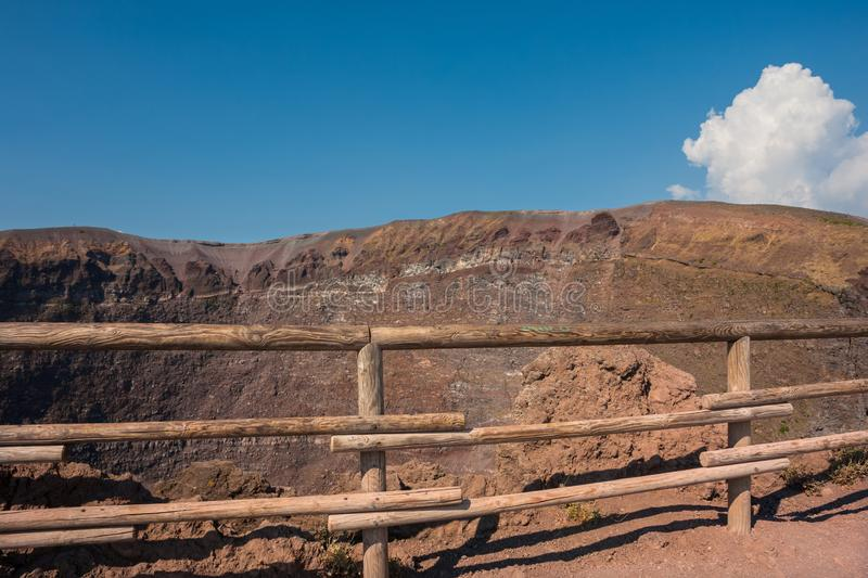 Mount Vesuvius, Italy. The crater of Mount Vesuvius. Naples, Italy royalty free stock photography