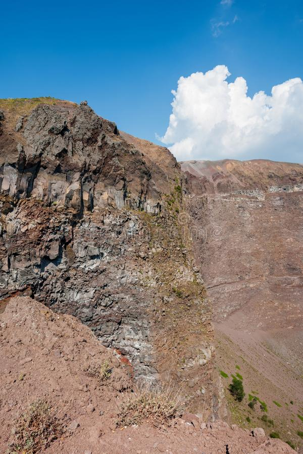 Mount Vesuvius, Italy. The crater of Mount Vesuvius. Naples, Italy royalty free stock images