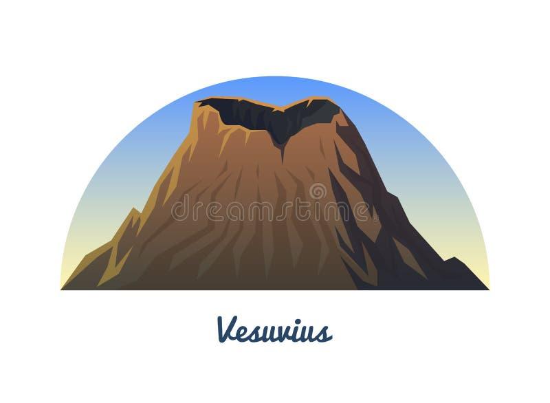 Mount Vesuvius Maxima landskap tidigt i ett dagsljus lopp eller campa och att klättra Utomhus- kulleblast royaltyfri illustrationer